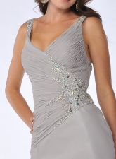 Elegant Rhinestone Detail Ruched V-Neckline Silver Chiffon Satin Full Length Formal Dress