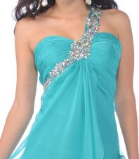 Beautiful Rhinestone Single Shoulder Strap Long Jade Chiffon Dress Formal