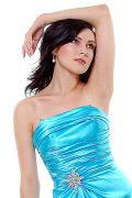 Aqua Satin Strapless Rhinestone Prom Dress
