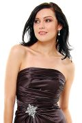 Black Satin Strapless Rhinestone Prom Dress