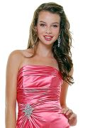 Coral Satin Strapless Rhinestone Prom Dress