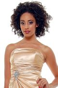 Gold Satin Strapless Rhinestone Prom Dress