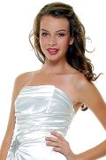Ivory Satin Strapless Rhinestone Prom Dress