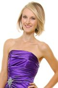 Purple Satin Strapless Rhinestone Prom Dress