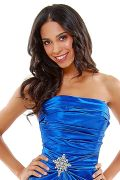 Long Strapless Royal Bridesmaid Dress Prom Satin Rhinestone Pleated Bodice