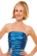 Long Strapless Teal Bridesmaid Dress Prom Satin Rhinestone Pleated Bodice