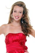 Red Rose Ruched One Shoulder Gown