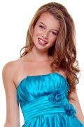 Turquoise Rose Ruched One Shoulder Gown