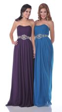 Gorgeous Eggplant Chiffon Rhinestone Belt Full Length Semi Formal Strapless Dress