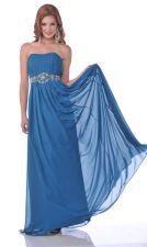 Gorgeous Teal Chiffon Rhinestone Belt Full Length Semi Formal Strapless Dress