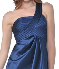 Classy And Elegant Single Shoulder Strap Pleated Bodice Teal Satin Full Length Formal Dress