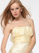 Banana Strapless Taffeta Long Gown