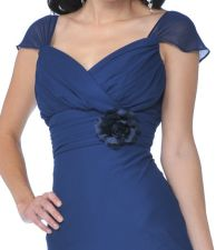 Off The Shoulder Cap Sleeves Navy Chiffon Full Length Semi Formal Dress With Rosette Waist
