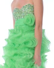 Light Green Rhinestone Studded Strapless Bodice Ruffled Organza Cocktail Dress