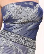 Strapless Long Embroidered Formal Evening Dress Husky Blue Satin