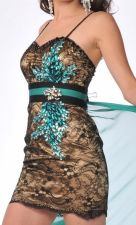 Elegant Gold Black Lace Spaghetti Strap Cocktail Dress Sweetheart Jeweled Bodice